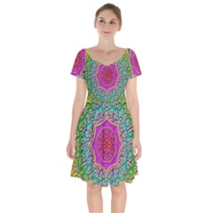 Mandala  Background Geometric Short Sleeve Bardot Dress