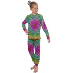 Mandala  Background Geometric Kids  Long Sleeve Set  by Pakrebo