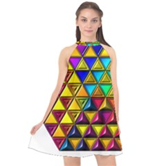 Cube Diced Tile Background Image Halter Neckline Chiffon Dress