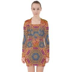 Background Image Decorative V Neck Bodycon Long Sleeve Dress by Pakrebo