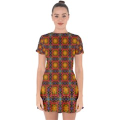 Tile Background Image Decorative Drop Hem Mini Chiffon Dress