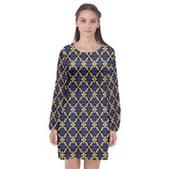 Background Image Decorative Long Sleeve Chiffon Shift Dress