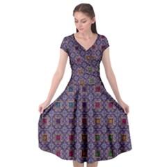 Tile Background Image Pattern Cap Sleeve Wrap Front Dress by Pakrebo