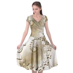 Flora Flowers Background Leaf Cap Sleeve Wrap Front Dress by Mariart