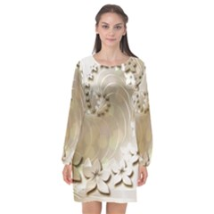 Flora Flowers Background Leaf Long Sleeve Chiffon Shift Dress  by Mariart