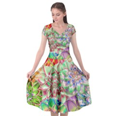 Dahlia Flower Colorful Art Collage Cap Sleeve Wrap Front Dress by Pakrebo