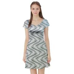 Abstract Geometric Line Art Short Sleeve Skater Dress