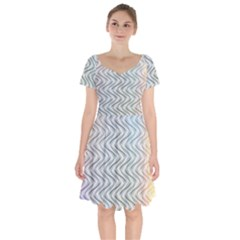 Abstract Geometric Line Art Short Sleeve Bardot Dress