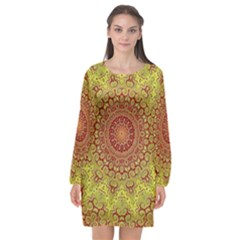 Background Fractals Surreal Design Long Sleeve Chiffon Shift Dress