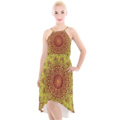 Background Fractals Surreal Design High Low Halter Chiffon Dress  by Pakrebo