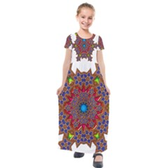 Tile Background Image Pattern Kids  Short Sleeve Maxi Dress by Pakrebo