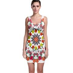 Tile Background Image Color Pattern Flowers Bodycon Dress by Pakrebo