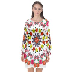 Tile Background Image Color Pattern Flowers Long Sleeve Chiffon Shift Dress