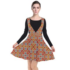 Tile Background Image Pattern Plunge Pinafore Dress