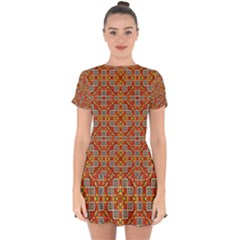 Tile Background Image Pattern Drop Hem Mini Chiffon Dress