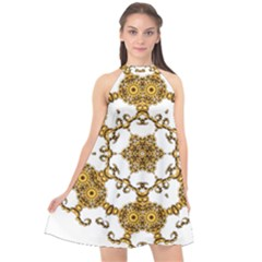 Fractal Tile Construction Design Halter Neckline Chiffon Dress