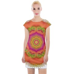 Pattern Colorful Abstract Cap Sleeve Bodycon Dress
