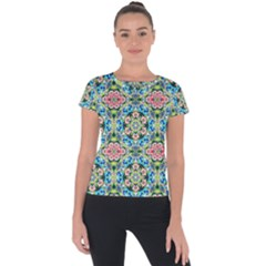 Tile Background Pattern Pattern Short Sleeve Sports Top  by Pakrebo