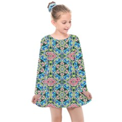 Tile Background Pattern Pattern Kids  Long Sleeve Dress by Pakrebo