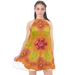 Pattern Symbol Ornament Symbolism Halter Neckline Chiffon Dress  by Pakrebo