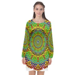 Tile Background Image Graphic Fractal Mandala Long Sleeve Chiffon Shift Dress