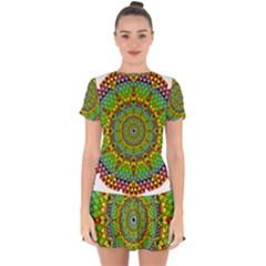 Tile Background Image Graphic Fractal Mandala Drop Hem Mini Chiffon Dress