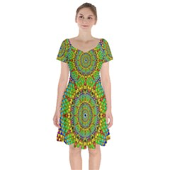 Tile Background Image Graphic Fractal Mandala Short Sleeve Bardot Dress