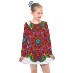 Mandala Fractal Graphic Design Kids  Long Sleeve Dress by Pakrebo