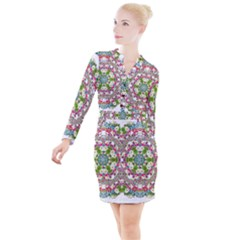 Floral Wreath Tile Background Image Button Long Sleeve Dress by Pakrebo
