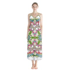 Floral Wreath Tile Background Image Button Up Chiffon Maxi Dress by Pakrebo