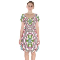 Floral Wreath Tile Background Image Short Sleeve Bardot Dress