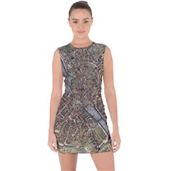 Paris Map City Old Lace Up Front Bodycon Dress by Pakrebo
