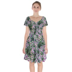 Ivy Lace Flower Flora Garden Short Sleeve Bardot Dress