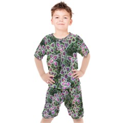Ivy Lace Flower Flora Garden Kids  Tee And Shorts Set by Pakrebo