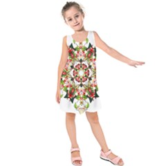 Tile Background Image Star Pattern Kids  Sleeveless Dress by Pakrebo