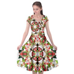 Tile Background Image Star Pattern Cap Sleeve Wrap Front Dress by Pakrebo