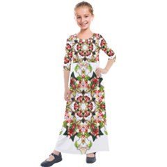 Tile Background Image Star Pattern Kids  Quarter Sleeve Maxi Dress by Pakrebo