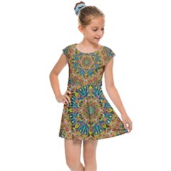 Colorful Pattern Color Kids  Cap Sleeve Dress by Pakrebo