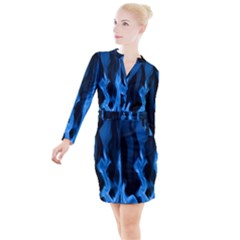 Smoke Flame Abstract Blue Button Long Sleeve Dress