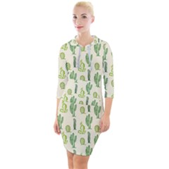 Cactus Pattern Quarter Sleeve Hood Bodycon Dress by goljakoff