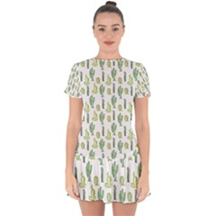 Cactus Pattern Drop Hem Mini Chiffon Dress