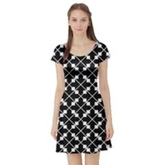Black And White Fantasy Short Sleeve Skater Dress