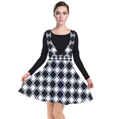 Black And White Diamonds Plunge Pinafore Dress
