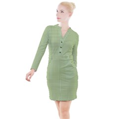 Green Gingham Button Long Sleeve Dress by retrotoomoderndesigns