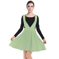 Green Gingham Plunge Pinafore Dress by retrotoomoderndesigns