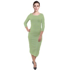 Green Gingham Quarter Sleeve Midi Velour Bodycon Dress by retrotoomoderndesigns