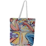 At the Cafe  Full Print Rope Handle Tote (Large)