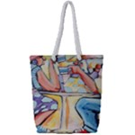At the Cafe  Full Print Rope Handle Tote (Small)
