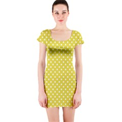 Yellow Polka Dot Short Sleeve Bodycon Dress by retrotoomoderndesigns