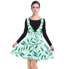Leaves Foliage Green Wallpaper Plunge Pinafore Dress